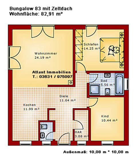 grundriss wohnung 85 m2 bungalow 83 mit zeltdach einfamilienhaus neubau massivbau