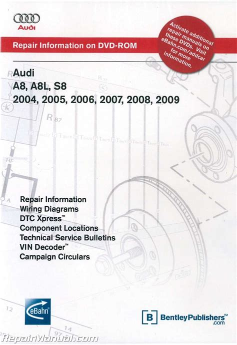 online car repair manuals free 2008 audi s8 head up display audi a8 a8l s8 2004 2009 repair manual dvd rom