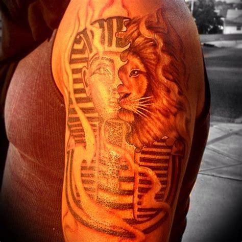 animal tattoo representations half pharaoh half lion representing my life motto