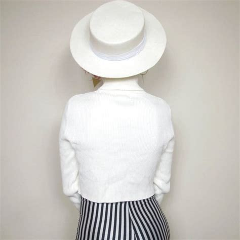 vintage womens white boater hat summer straw sun hat
