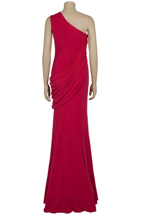 one shoulder draped dresses eastland one shoulder draped gown in red lyst