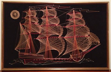 String Ship - custom framed 70s string sailing ship