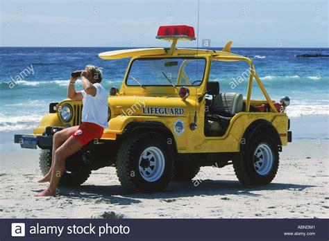 Lifeguard And Yellow Jeep At Laguna Beach In Southern