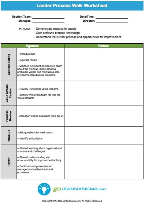 a3 process improvement template leader process walk worksheet goleansixsigma lean