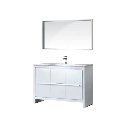 fresca allier 48 inch w vanity in white finish with mirror