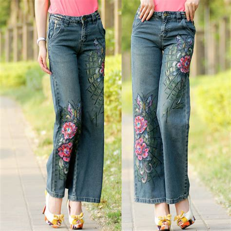 pattern jeans plus size spring summer women colored flower pattern beaded diamond