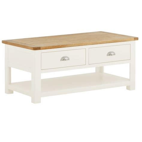 tynedale white coffee table with drawers oak world