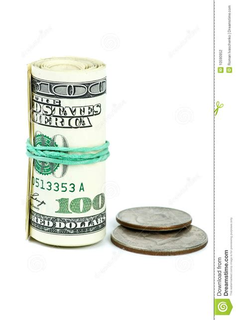 Wf Roll 35 Best Fresh Original roll of 100 banknotes and coins near stock photography image 10590952