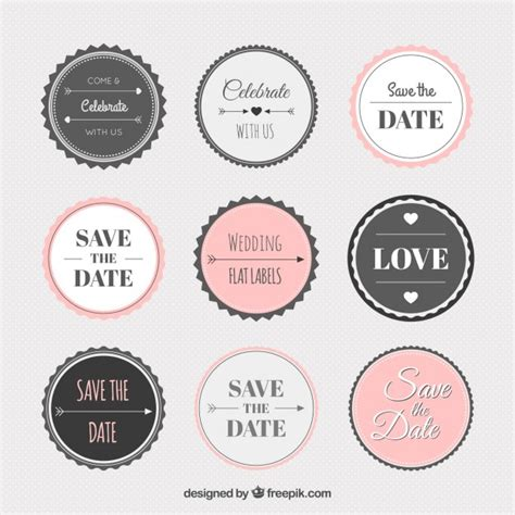 Vintage Wedding Sticker Collection Vector Free Download Wedding Sticker Template