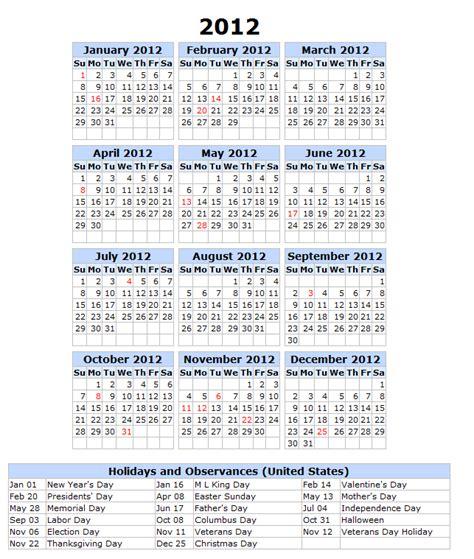 2012 Calendar With Holidays 2012 Calendar With Holidays Printable