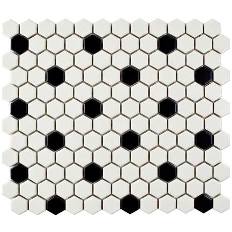 1 matte white hex floor tile merola tile metro hex matte white with black dot 10 1 4 in