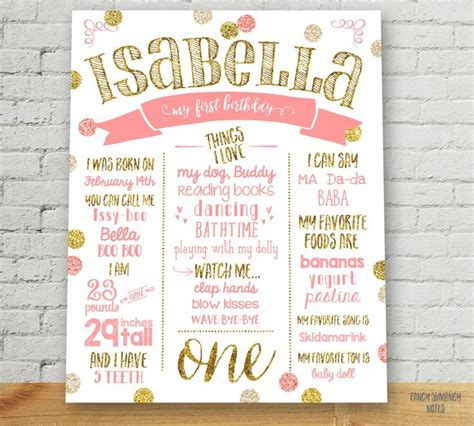 printable poster board best 25 first birthday sign ideas on pinterest girl