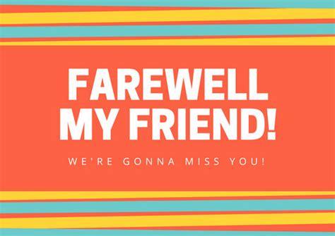 farewell card template black and white orange striped farewell card templates by canva