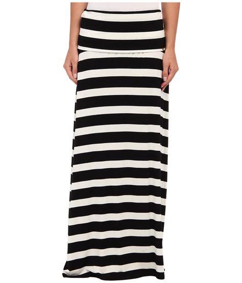 calvin klein thick stripe maxi skirt in black black white