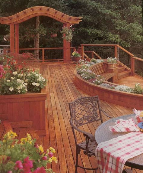 beautiful decks beautiful cedar deck with planter decks pinterest