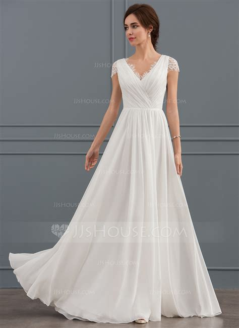 V Neck Chiffon Dress a line princess v neck floor length chiffon lace wedding