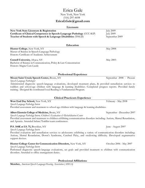 Speech Therapy Resume Objective by Speech Language Pathology Resume Slp