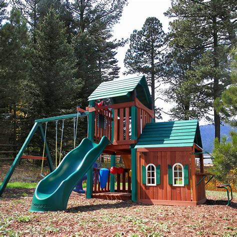 swing set playhouse new kids huge wood playground set swing set play house