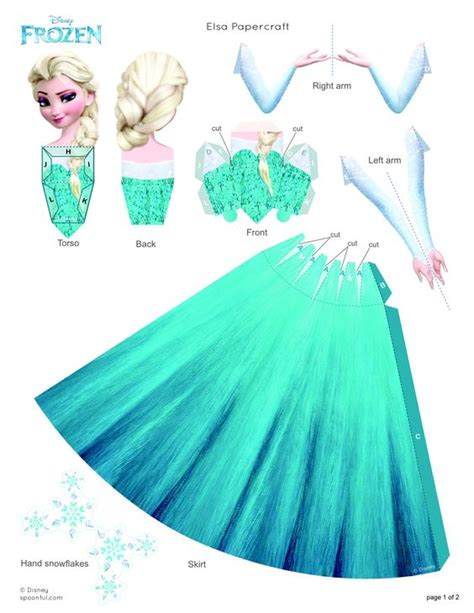 3d Papercraft Printables - elsa papercraft frozen hair color and dress up