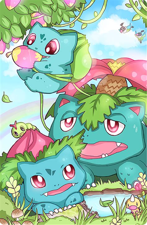 Kaos Go Bulbasaur Ivysaur Venusaur pokefamily vacation bulbasaur by geegeet