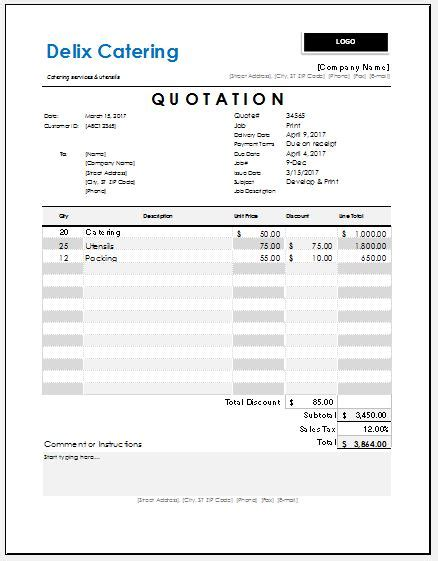 catering quotation templates for ms excel excel templates