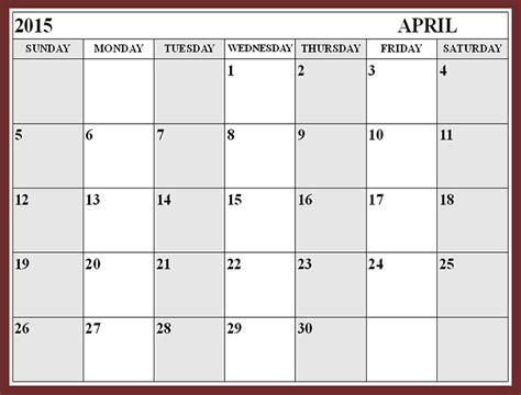 Calendar 2015 Printable April 8 Best Images Of April 2015 Calendar Printable Pdf Blank