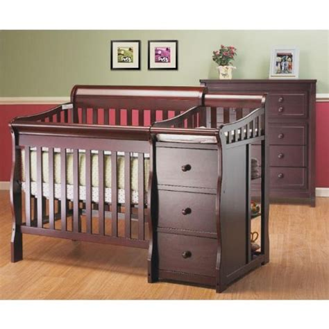 mini crib with changer small cribs for small spaces