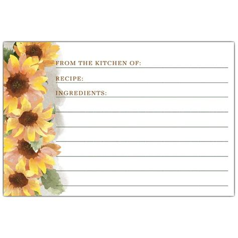 sunflower recipe card template watercolor sunflowers recipe cards paperstyle
