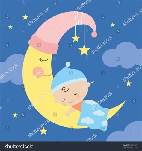 Kaos Bunny Sleep On Moon vector illustration of a baby sleeping on the moon