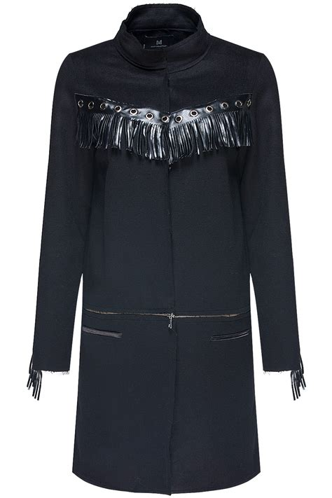 Blazer 2in1 mirimalist fringe detail 2in1 coat jacket black 365ist