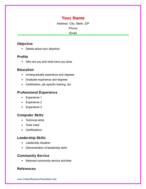 Resume Template Basic High School Basic Academic Resume Template Models Picture