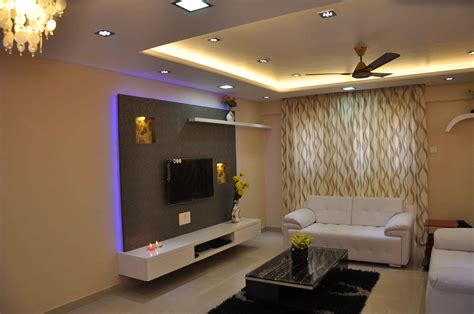 living room interiors with lcd tv interior for mr karan jain wakad pune
