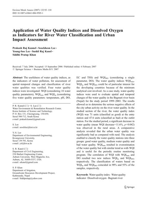 Water Quality Indices pdf application of water quality indices and dissolved
