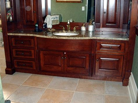 traditional style cherry wood master bath vanity
