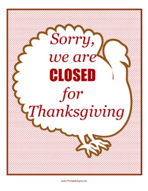 Printable Closed Sign For Thanksgiving Happy Easter Thanksgiving 2018 Thanksgiving Business Hours Template
