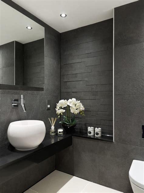 trendy gray bathroom interiors  contemporary style