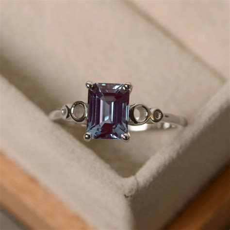 Sweety Silver L2 lab alexandrite ring sterling silver solitaire rings