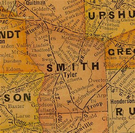 map of smith county texas walnut grove texas