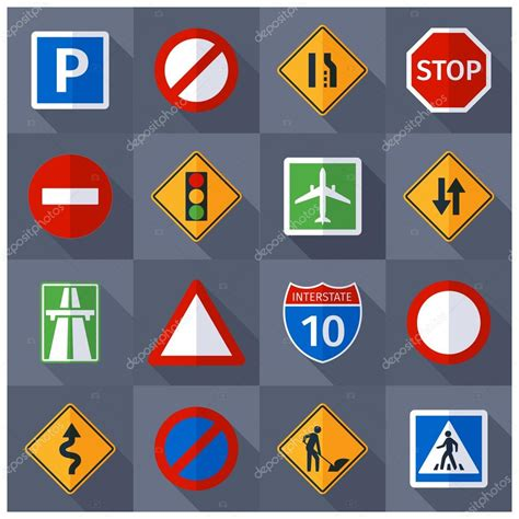 road traffic signs flat icons set stock vector