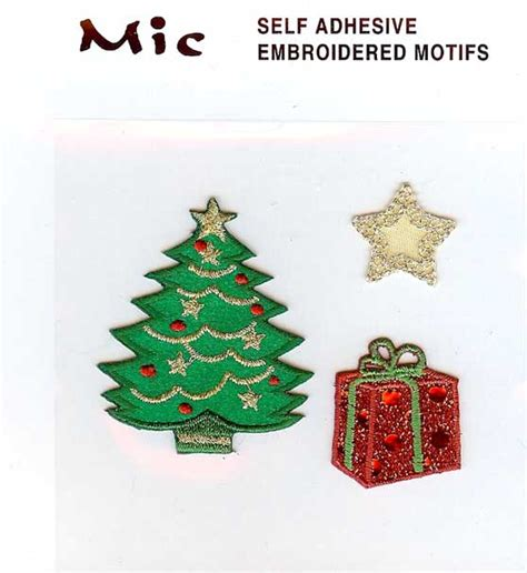 3 self adhesive embroidered christmas tree motifs