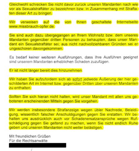 Anwalt K Ndigen Brief Am 22 02 11 Erhalte Ich Post Seinem 3 Anwalt Missbrauch Opfer