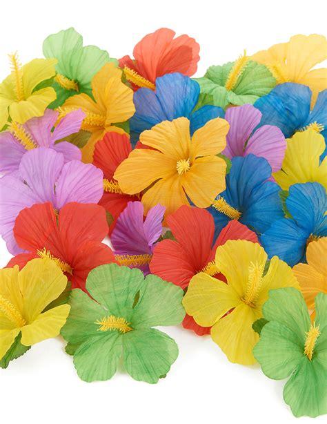 fiori hawaiani 24 fiori hawaiani di stoffa colorata su vegaooparty