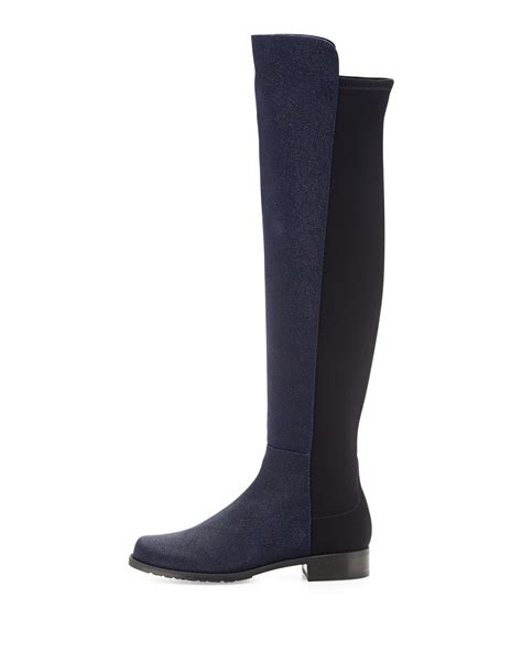 stuart weitzman 50 50 pindot the knee boot in blue lyst