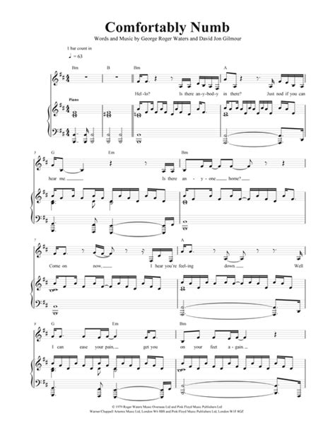 pink floyd comfortably numb chords and lyrics comfortably numb sheet music by pink floyd piano vocal