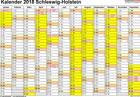 Kalender 2018 Mit Schulferien Ferien Schleswig Holstein 2018 220 Bersicht Der Ferientermine