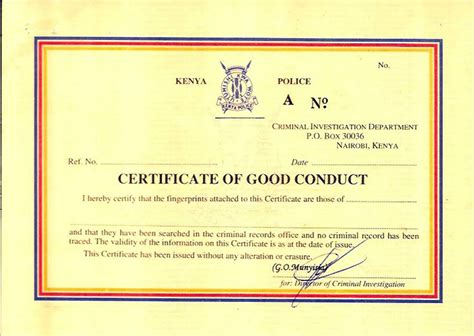 Certificate Of Conduct Template by Sle Certificate Of Conduct Choice Image