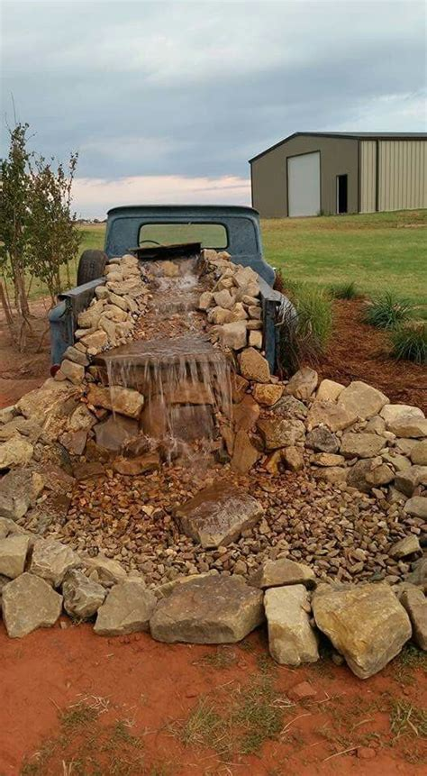 waterfall decoration for homes rustic western yard decor old pickup waterfall large