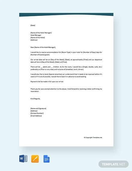 hotel reservation letter template word google