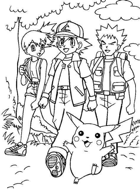 pokemon coloring pages misty pokemon ash brock misty az coloring pages