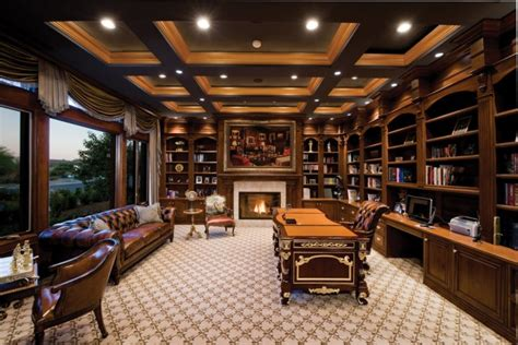 warm  cozy home office designs  fireplaces